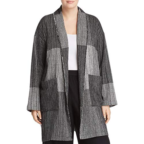 Eileen Fisher Womens Colorblock Shawl Collar Jacket Colorblock Nylon Jacket