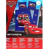 """Disney PIXAR Cars ropa de cama """"Rayo McQueen"""" (reversible), 1 x funda de almohada de 80 x 80 cm y 1 x funda de edredón de 135 x 200 cm, 100% algodón con cremallera"""