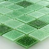 Glas Mosaikfliese 20x20x4mm Grün Mix