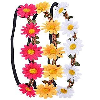 3 Stück Daisy Blumen Stirnband Haarband Kopfband Krone mit justierbaren elastischen Band für Hochzeit