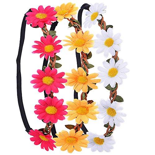3 Stück Daisy Blumen Stirnband Haarband Kopfband Krone mit justierbaren elastischen Band für Hochzeit (Neue Jahre Baby Kostüm)