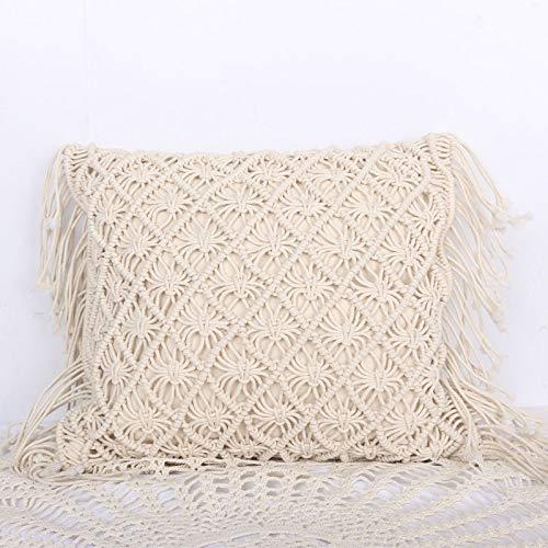 MAyouth Boho Kissenbezug handgemachter gesponnener Platz Makramee Boho Quasten Werfen Couch-Kissen für Sofa Wohnzimmer Abdeckung