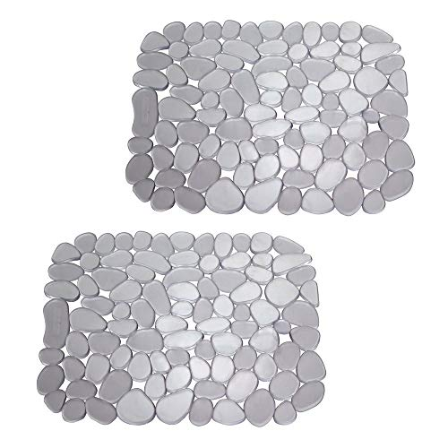 mDesign Set da 2 Tappetino lavello in PVC - Perfetto per Proteggere Il lavandino Cucina dai Graffi - Utilizzabile Anche Come Tappetino scolapiatti - Grafite