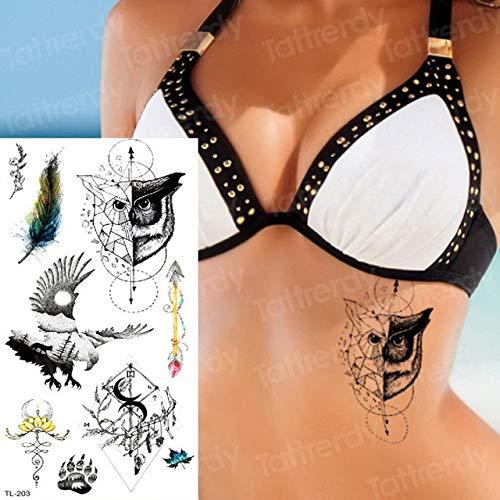 Handaxian 3pcsTattoo Aufkleber Körper Blume weibliche Mädchen Skizze Tattoo Design schwarzer Vogel Fuchs Tattoo -