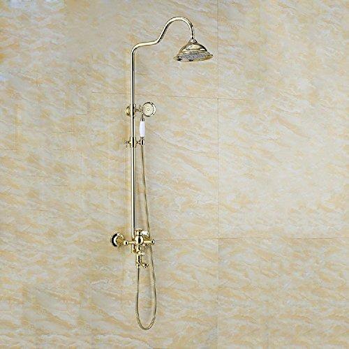 KHSKX Kupfer-Handbrause set mit gold Dusche, vergoldete Keramik Dusche Düse anheben