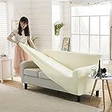 Color sólido Lleno-cubra Funda para sofá Telar Poliester Punto Funda elástica para sofá Europeo A prueba de polvo Protector para sofás-I 4 plazas