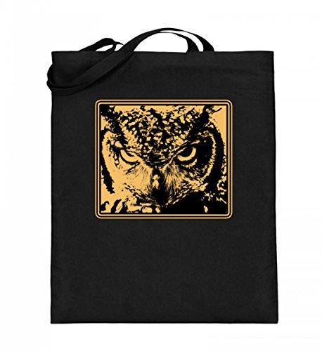 Hochwertiger Jutebeutel (mit langen Henkeln) - Grimmige Eule - Grumpy Owl Motiv Vogel Party Lustig - Schlichtes Und Witziges Design