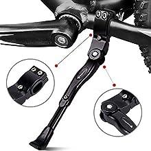 icefox Support de vélo Unisexe Adult pour vélo, béquille latérale Pliable et réglable avec Pied en Caoutchouc antidérapant en Alliage d'aluminium pour VTT, vélo de Course, vélo et vélo Pliable Noir 1