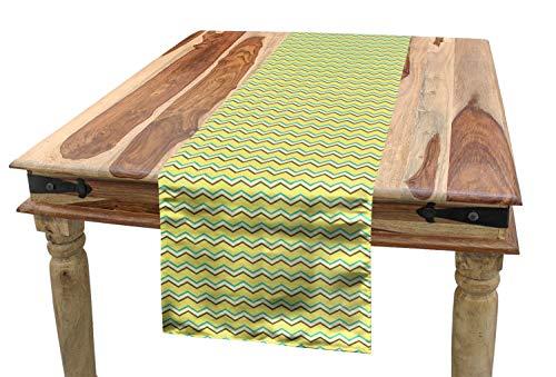 ABAKUHAUS Yellow Chevron Tischläufer, Retro Zickzack, Esszimmer Küche Rechteckiger Dekorativer Tischläufer, 40 x 180 cm, Anthrazit grau Himmelblau Gelb