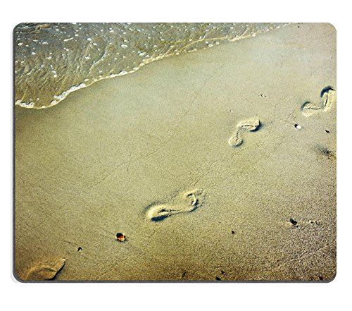 Luxlady Mousepads vintage photo of Footsteps in the Sand at the beach Image 28209527 Customized Art desktop laptop Gaming Mouse pad
