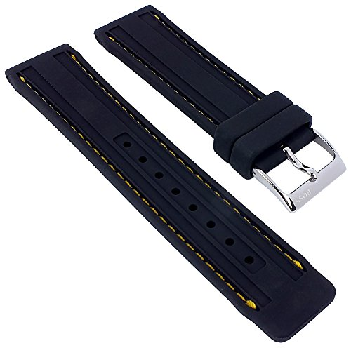 Hugo Boss | Uhrenarmband Silikon schwarz gelber Kontrastnaht 1512500