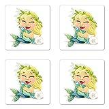 Signo del Zodiaco Piscis juego de posavasos de cuatro por lunarable, Ríe rubia bebé sirena con una corona de celebración de un divertido estilo de dibujos animados peces, cuadrado rígido brillante posavasos para bebidas, multicolor