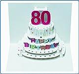 Pop Up 3D Karte Geburtstagskarte 80 Geburtstag Gutschein Torte 16x11cm