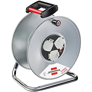 Brennenstuhl Garant 3-way socket cable reel without extension cable (rust-proof), empty reel with ergonomic handle