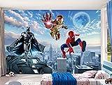 Cartoon Anime Wallpaper Garçon Fille Chambre Chambre Papier Peint Spider-man Iron Man Murale Tissu Chambre D'enfant (H) 200 * (W) 140cm un