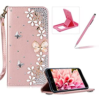 Herzzer Diamond Leather Case for Huawei P10 Lite,Rose Gold Strap Wallet Cover for Huawei P10 Lite, Luxury 3D Butterfly Decor Design Stand Glitter Magnetic Smart Leather Case with Soft Inner