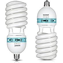 Neewer® 85W 220V 5500K Tri-fósforo Espiral CFL Bombilla equilibrada Luz del día en E27 Socket para Fotográfico y Iluminación de Video Estudio (85W)(Dos bombillas)