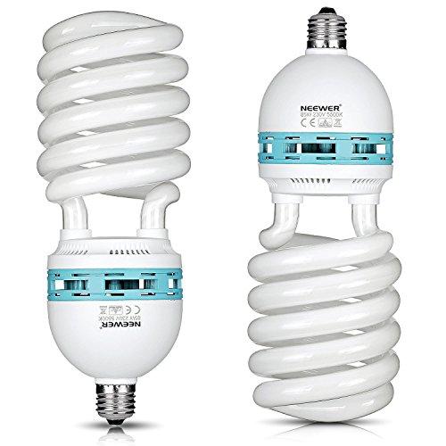 Neewer® 85W 220V 5500K Tri-Phosphor-Spirale CFL Tageslicht Balanced Glühbirne Glühlampe in E27 Fassung für Fotografie und Videostudiobeleuchtung (2 Pack 85W) -