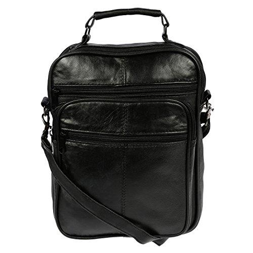 Christian Wippermann kleine und große Unisex Tasche Schultertasche aus Leder Schwarz Groß Schwarz Groß