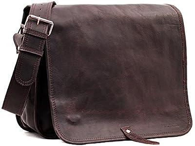LE MESSAGER (L) cuir couleur INDUS besace gibecià¨re format (A4) style Vintage PAUL MARIUS