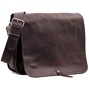 PAUL MARIUS LE MESSAGER INDUS Marrón Oscuro bolso de cuero del mensajero apropiado para A4 tamaño (M)