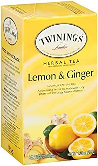 Twinings Herbal Tea, Lemon and Ginger, 25 Count Bagged Tea (6 Pack)