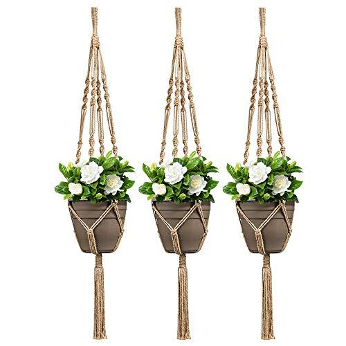 Koitoy 3 Stück Makramee Blumenampel Jute Pflanzenaufhängerfür für Innen Außen Baumwollseil Hängeampel Blumentopf Aufhänger Wanddekoration Pflanze Hanger - 105cm(Jute-3 STK)