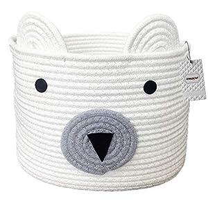 Inwagui Baumwolle Seil Aufbewahrungskorb Süß Bär Korb Faltbar Kinderzimmer Deko Aufbewahrungsbox Baby Wäschekorb…
