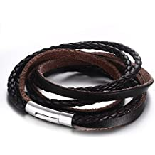 Vnox Genuine intrecciato in pelle da uomo braccialetto dell'involucro Brown Cuff Wristband con chiusura