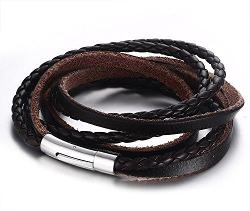 Vnox Wrap Bracelet Brown polsino del Wristband degli uomini delle donne genuine intrecciato in pelle con chiusura