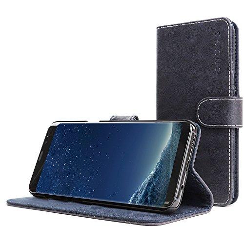 Funda Galaxy S8 Plus, Snugg Carcasa Plegable para Samsung Galaxy S8 Plus [Ranuras para Tarjetas] Cubierta de Cuero con Billetera, Diseño Ejecutivo [Garantía de por Vida] -Azul Marino, Legacy Range