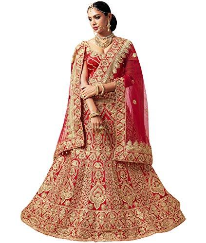 Indian Ethnicwear Bollywood Pakistani Wedding Red A-Line Coloured Lehenga Semi-stitched-PRF5428