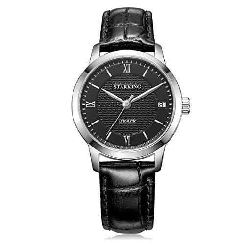 Starking Damen al0187 schwarz Zifferblatt schwarz Lederband Automatik Uhr