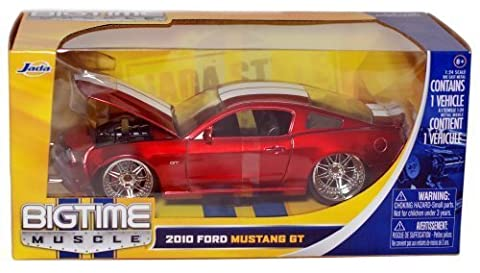 Bigtime Muscle: 2010 Ford Mustang GT 1/24 Scale (Red with White Stripes) by Jada by Jada