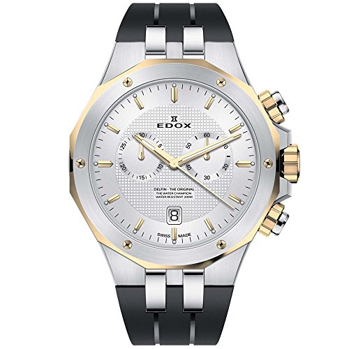 Edox Men's Delfin The Original 43mm Black Swiss Quartz Watch 10110 357JCA AID