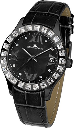 Jacques Lemans Rome 1-1571P Ladies Black Leather Strap Watch