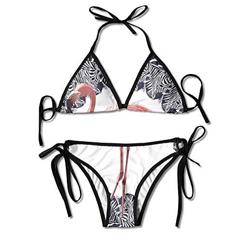 Zebra Flamingo Bikini Women's Summer Swimwear Triangle Top Bikinis Swimsuit Sexy 2-Piece Set Black Zebra Illusion