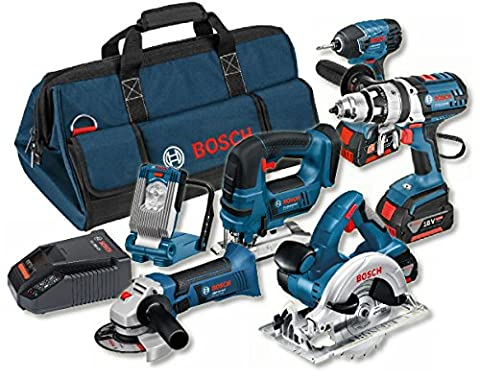 Bosch Professional 18 V Heavy Duty Power Tool Kit and Bag (3 x 4.0 Ah Lithium-Ion CoolPack Batteries) -