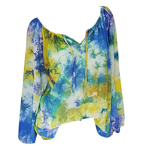 CAOQAO Damen Baumwollleinen Bluse Damen Sommer Plus GrößEn-Halbe HüLsen-Tupfen-Spitze-V-Ansatz Bluse Pullover Tops Shirt
