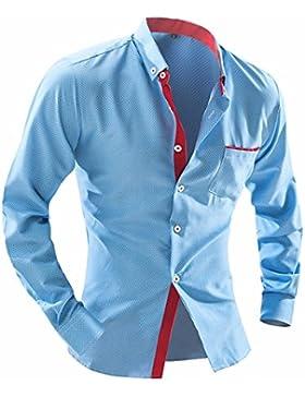 GK Camicia uomo Slim Manica Lunga Casual Uomini British Fashion punto Slim a maniche lunghe, blu cielo, 2XL