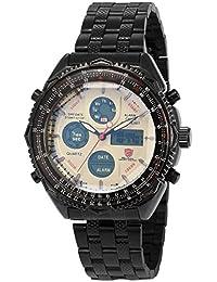 Shark SH114 - Reloj Hombre de Cuarzo, Correa de Acero Inoxidable Negro, Esfera Blanca