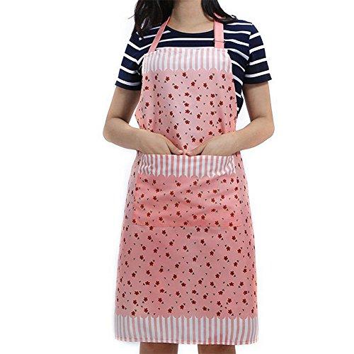 2x Milopon Schürze Kochschürze Latzschürze Gastronomie Grillschürze Küchenschürze Frau Ärmellos Schürzemit Taschen für Frauen Männer Chef (Rosa) (Schürze Natürliche Baumwolle)