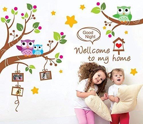 Ufengke® fumetto gufi rami degli alberi adesivi murali, camera dei bambini vivai adesivi da parete removibili/stickers murali/decorazione murale
