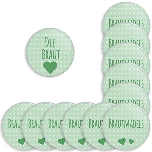 Werbewas 12er Set Runde Buttons für feierliche Anlässe - Hochzeit - Junggesellenabschied / JGA Party - Trauung (38mm) Motiv Brautmädels - Mint mit Nadel-Anstecker