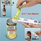 Zoomy far WALFOS - Apriscatole universale a 6 vie, per aprire barattoli, bottiglie, cucina, multiuso, in un unico strumento
