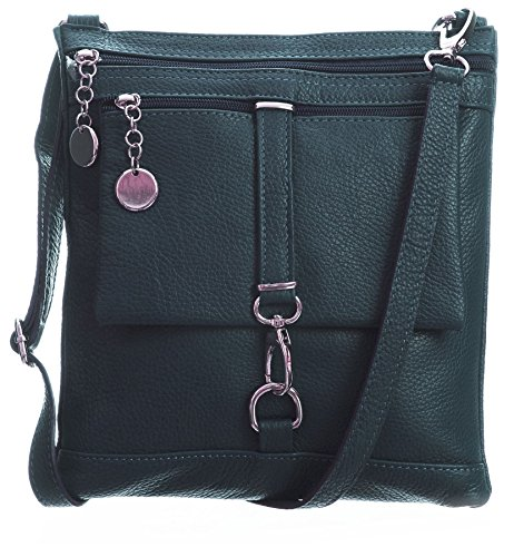 Big Handbag Shop Borsa a tracolla Messenger tipo cross-over in autentico Pelle Italiana 24x26x3 cm (LxAxP) Scuro Teal (NL562)