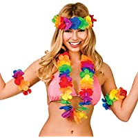 Colorful Mulitcolour Aloha Girl Hibiscus Hawaiian Lei Set Fancy Dress