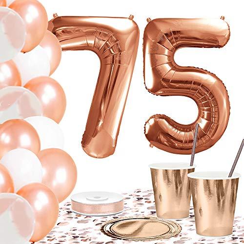 DekoGuru® Partyset in rosé Gold - für 18 Personen (75. Geburtstag) (Geburtstag 75 Ballons)