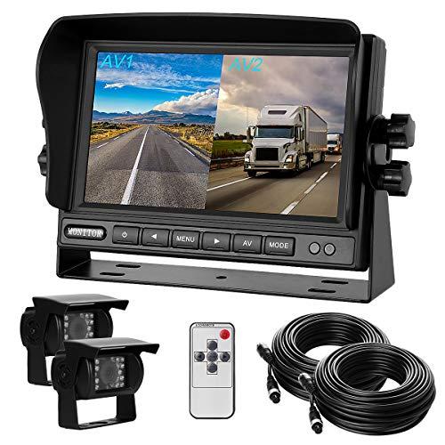 """Dual-Rückfahrkamera-Set mit 7""""-LCD Split-Screen-Monitor & Zwei 170° Weitwinkel- Rückfahrkameras, IP68 wasserdicht, 18IR Nachtsicht, für LKW/Anhänger/Bus/Van/Schwertransport(12-24 Volt)"""