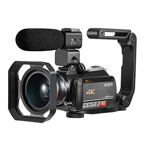 4K Camcorder ORDRO 4K Ultra HD WiFi Videokamera 12x Optischer Zoom 3,1 Zoll IPS Touchscreen 1080P 60FPS Camcorder Video Camera mit Mikrofon und Weitwinkelobjektiv, Ideal für Geschenk